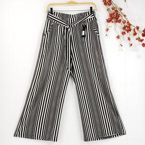 NEW Striped Wide-Leg Cropped Capris Pants